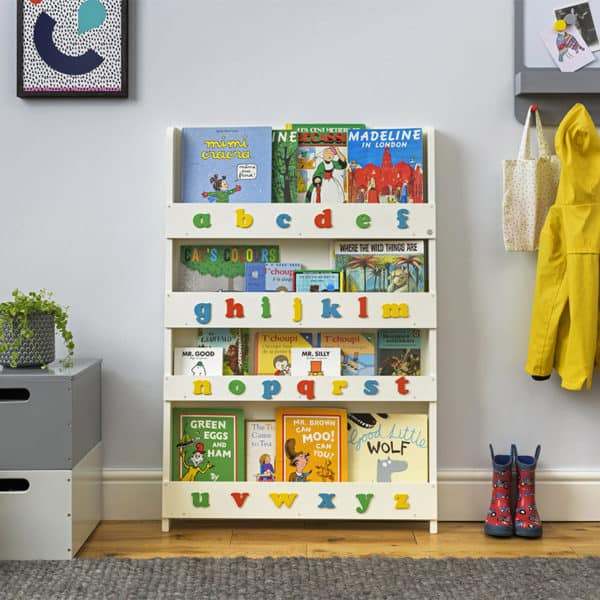 Children's bookcases, Tidy Books, Tidy Books Children Bookcases, kids bookcases, Tidy Books Alphabet Bookcase Ivory Colour Alphabet